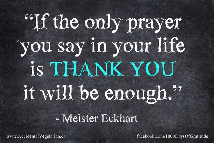 If the only prayer you say in your life is THANK YOU it ...