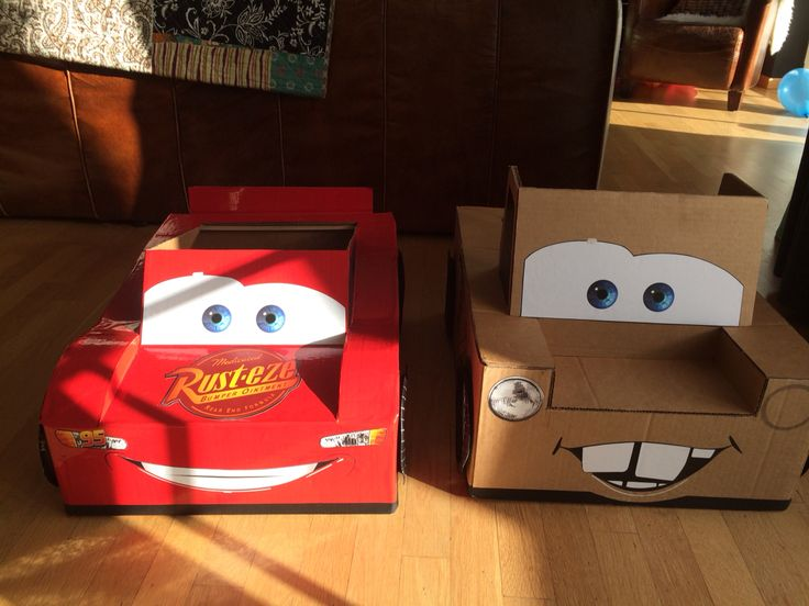 Homemade Lightning McQueen and Mater Cardboard Cars