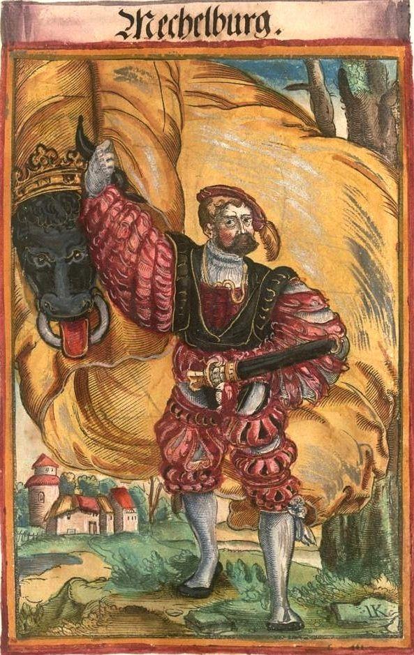 """Mecklenburg [Mechelburg] (f°128) -- Koebel, Jacob, """"Wapen des heyligen römischen Reichs teutscher Nation"""", Franckfurth am Main, 1545 [BSB Ms. Rar. 2155]"""