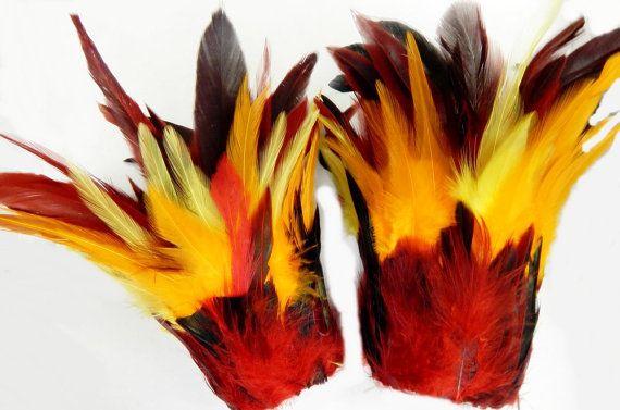 Fire Phoenix Feather Cuffs Samba Dance Adult by sajeeladesign