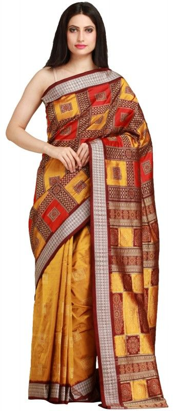 Gold and Red Bomkai Handloom Sari from Orissa with Woven Motifs