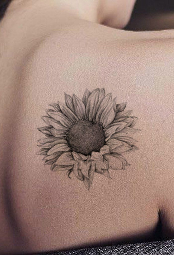 118fbe3a3a2c3 Realistic Black Sunflower Shoulder Tattoo Ideas for Women - Delicate  Vintage Floral Flower Arm Tat - ideas de girasol hombro tatuaje para  mujeres - www.