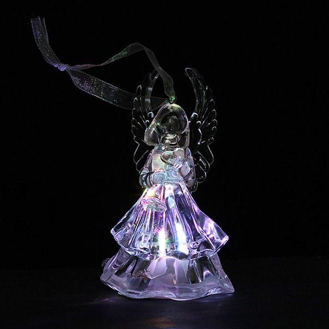 Прекрасный цвет изменение ледяной кристалл рождество елку молитва акриловые ангел украшения из светодиодов вспышки ночь свет лампы для подарка новый