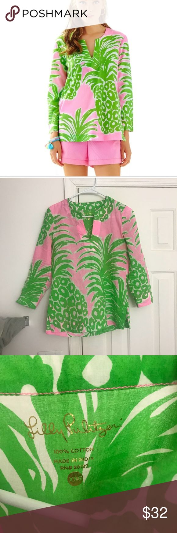 Lilly Pulitzer flamenco pattern tunic style top! Lilly Pulitzer flamenco print tunic style top! Size xxs but could fit up to a small imo depending on how loose/form fitting you want it! Lightweight and very airy! Beautiful pattern! Worn once after purchased for about an hour and I decided it was too tight on my forearms for my liking. From a smoke free and pet free home! Open to trades! Lilly Pulitzer Tops Blouses