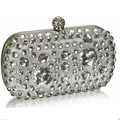 Beaded Clutch Bag Sparkly Stone Hard Case Box Handbag Party Evening Wedding Purs