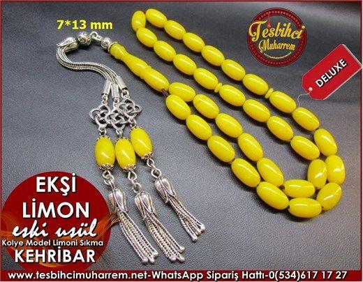 Osmanlı Kolye Model Eski Usül Sıkma Kehribar Tesbih 7*13 mm Ekşi Limon Ürün Kodu: TM7664