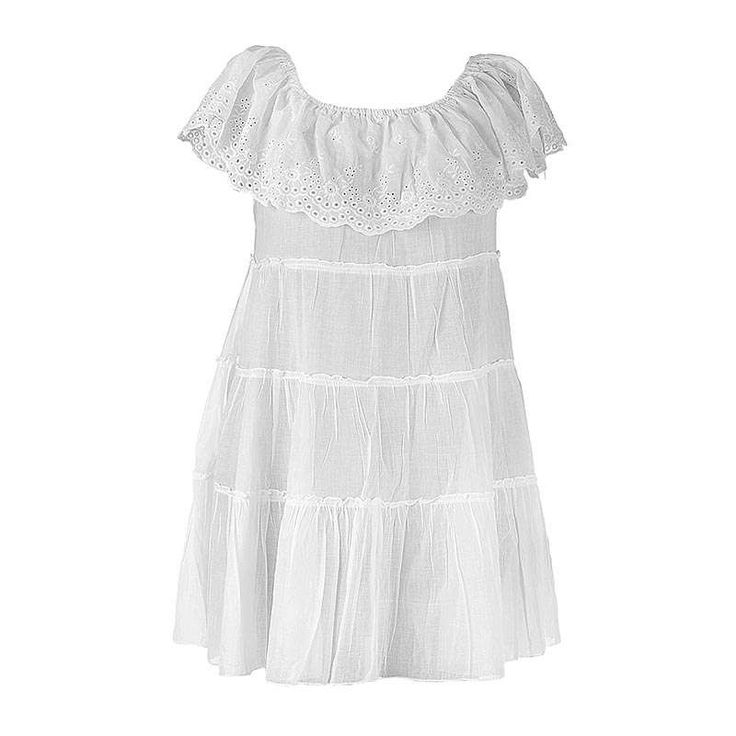 DRESS IN WHITE COLOR MEDIUM (100% COTTON) - Skirts-Dresses - Clothes