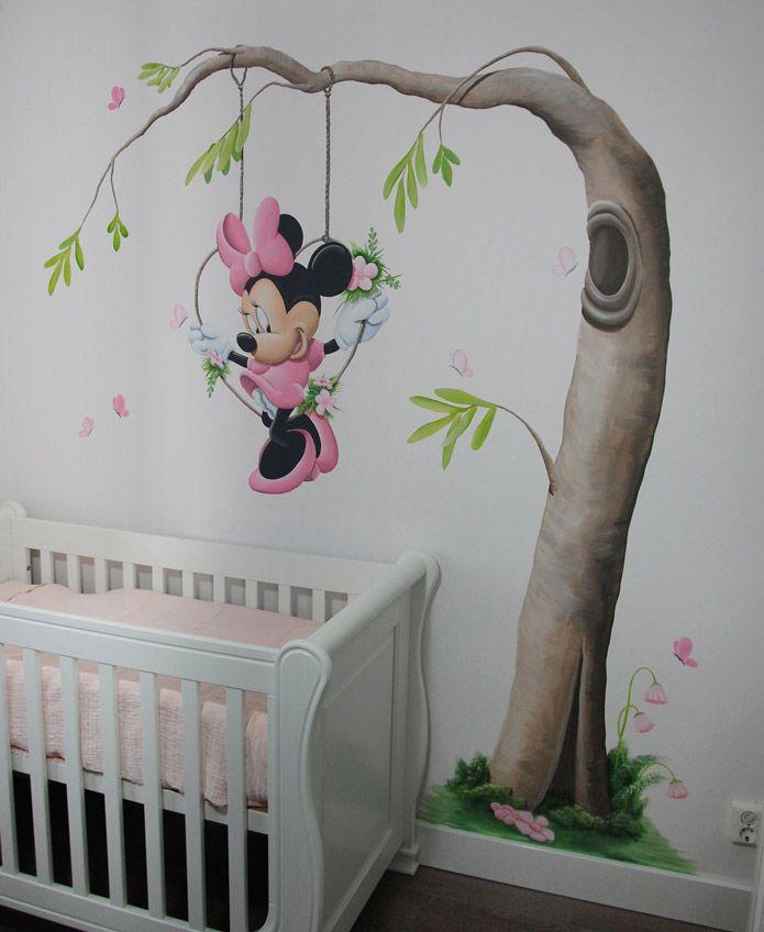 minnie mouse boom door BIM Muurschildering    minnie mouse tree mural painting
