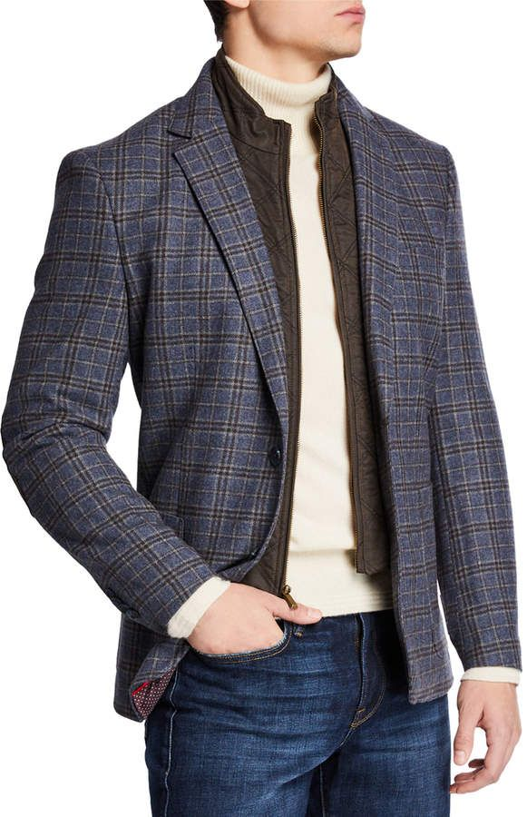 English Laundry Mens Zip Out Bib Butler Plaid Blazer Plaid