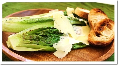 Grilled Romaine Salad-- used homemade Caesar dressing after grilling.  Really good-- J loved it!
