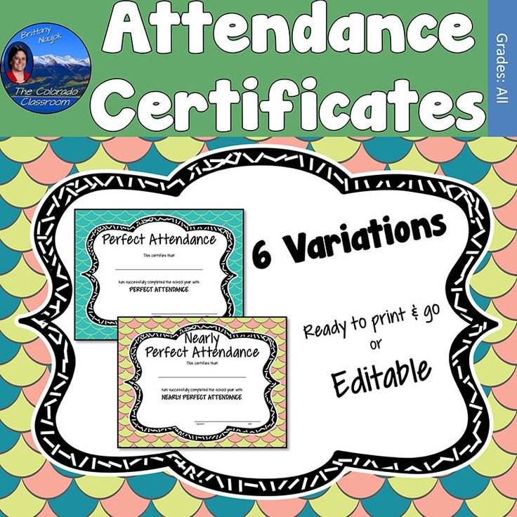 Attendance Certificates are the perfect way to celebrate the incredible accomplishment of perfect attendance, or nearly perfect attendance.  This bright and fun certificate is available in 6 variations in two forms. Get it in a printable PDF form which allows you to write in the name of your recipient. Or use the editable PowerPoint version which will allow you to type in your recipient's name.