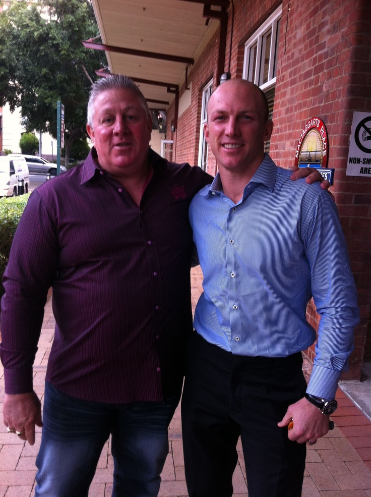 Rugby league legends Chris 'Choppy' Close and Darren Lockyer at our Sportsman's Lunch on 1 May 2012.