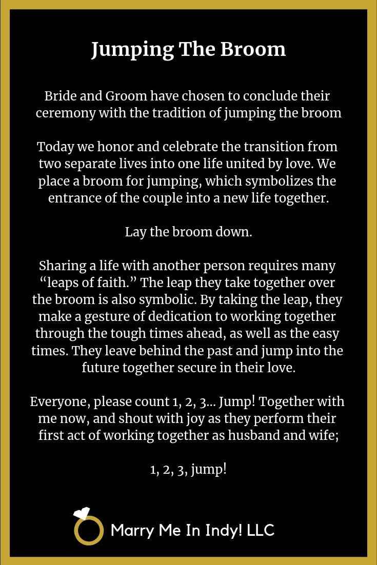 Jumping The Broom scripts for your wedding ceremony
