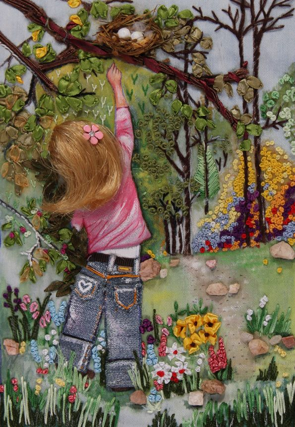 absolutely stunning piece of embrodiary work.  Girl Reaching by Pravinya Mohan