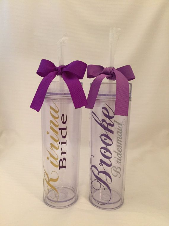 Items Similar To Tall Z Acrylic Tumbler Personalized Bride Or Bridesmaid Party Favors On Etsy