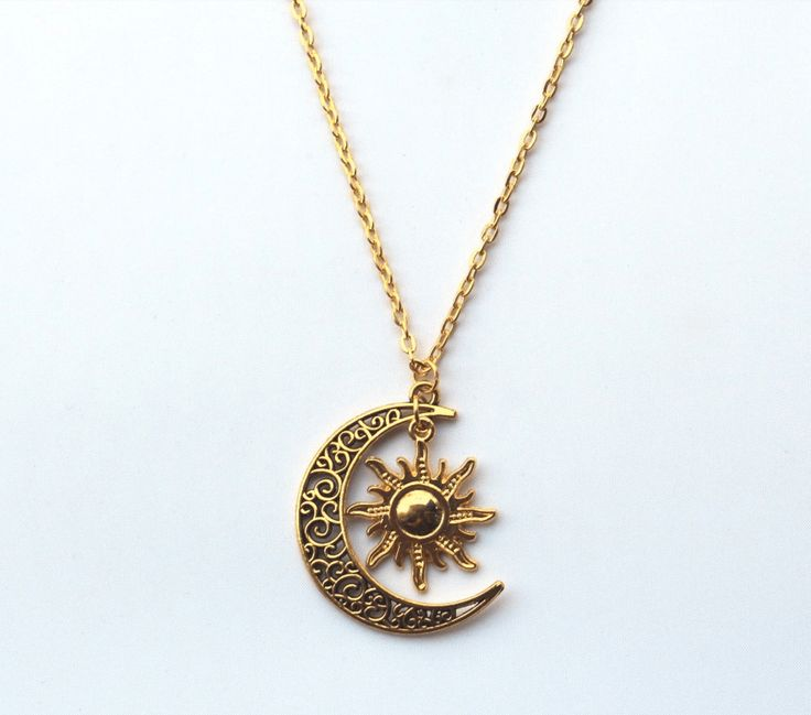 We love this beautiful and intricate gold sun and crescent moon necklace, and we know you will too! Get this item with FREE SHIPPING Material: Gold Plated. Necklace length: 23.5 inches/60cm. Pendant s