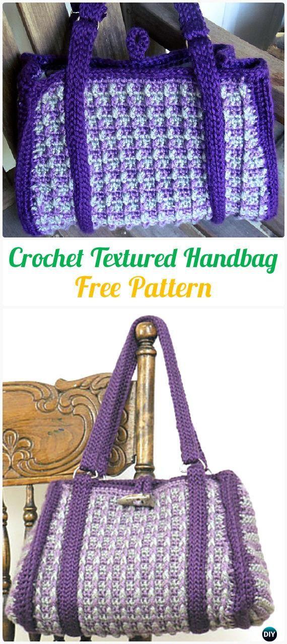 Crochet Textured Handbag Tote Free Pattern - #Crochet Handbag Free Patterns