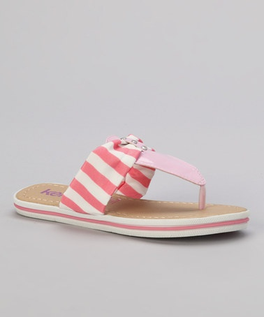 Take a look at this Pink & White Stripe Patent Flip-Flop by kensiegirl on #zulily today!