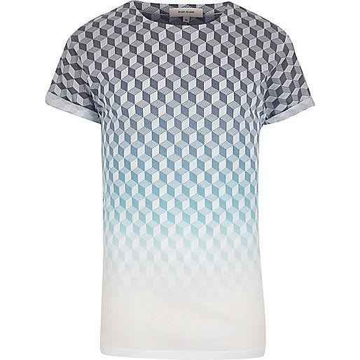 Faded geometric print blue t-shirt medium