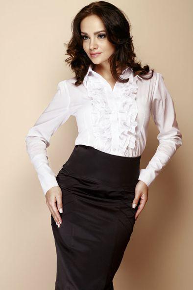 Biała koszula damska z długim rękawem