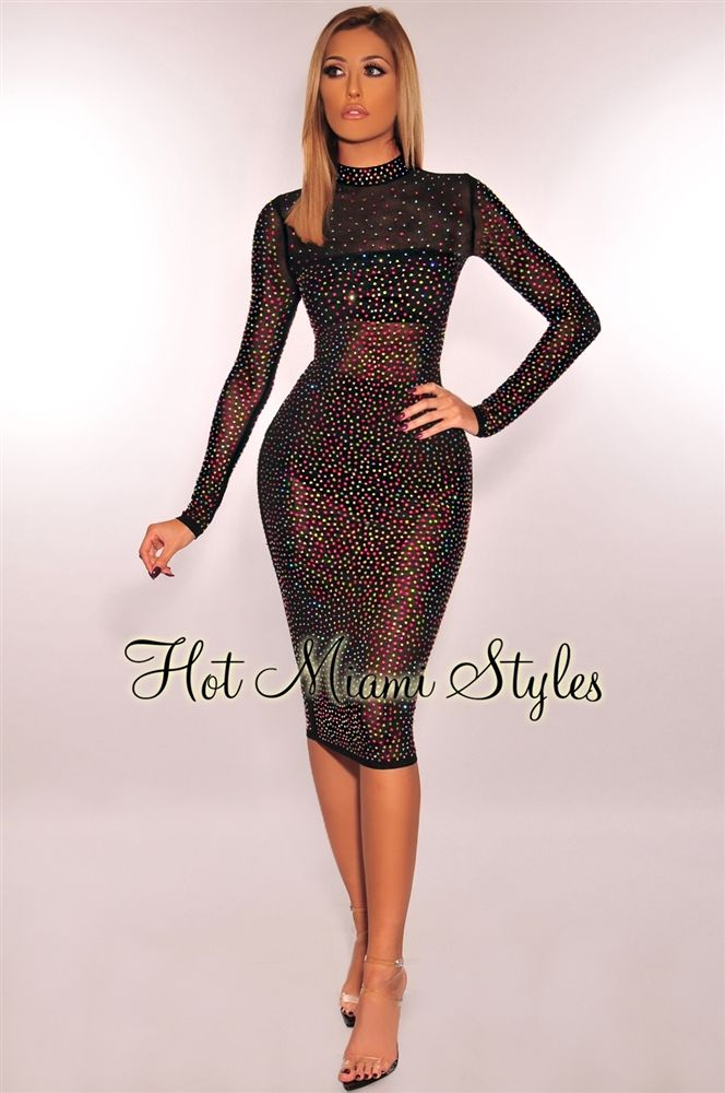 a6a9380a86318 Black Mesh Iridescent Rainbow Rhinestone Studded Long Sleeves Dress ...