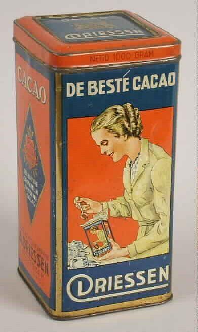 """Cacaoblik met """"De beste cacao / Driessen"""""""