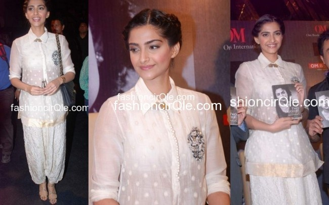 In Anamika Khanna : Sonam Kapoor : Lame or Fame? At a recent Book Launch, Sonam wowed us in an Anamika Khanna ensemble.    Sonam is probably the only actress who doesn't give us the same old overdone Anarkali looks when it comes to Indian wear.    Sonam wore a sheer white embroidered kurti with a crushed salwar. She kept the whole look elegant with a braided updo and a Chanel bag. I lov the pairing of the strappy Jimmy Choos. Love!!
