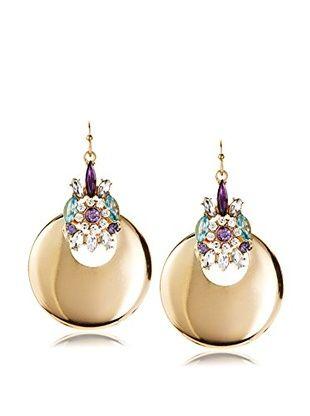 55% OFF Bijou Gold Disc Earring with Crystal Finding
