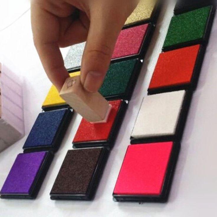 12 Warna Lucu Inkpad Craft Kain Bantalan untuk Stempel Karet Tinta Berbasis Minyak DIY Scrapbook Dekorasi Pernikahan Fingerprint Stamp Pad