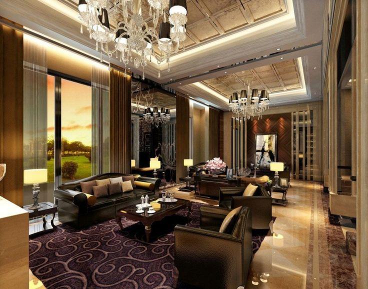 Interior:Classics Luxury America Villa Living Room Interior Design With  Black Leather Sofa Sets Also Part 72