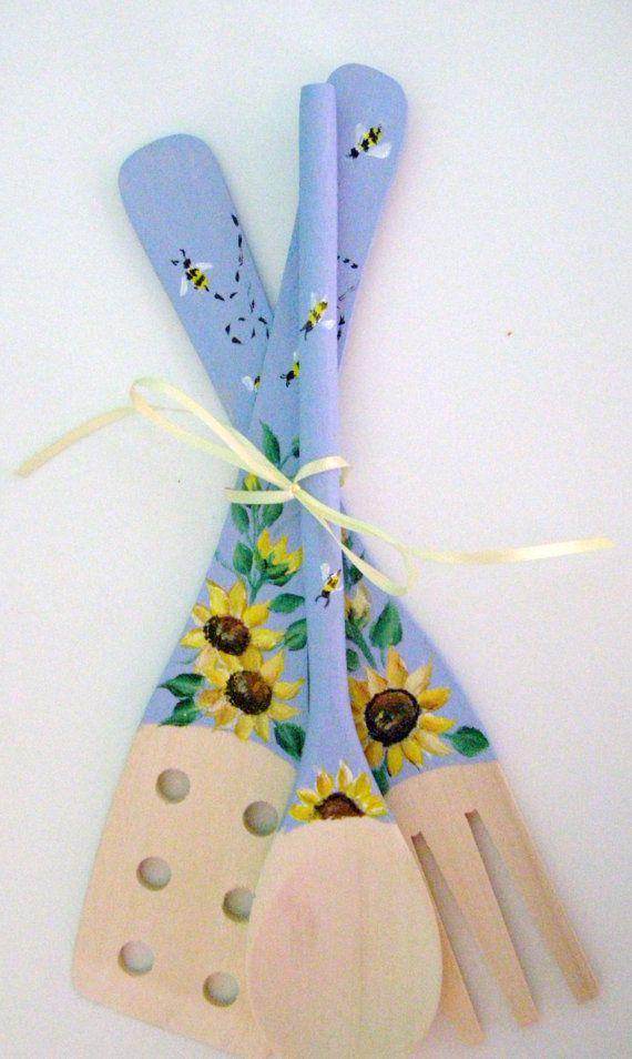 Sunflowers on Wooden Kitchen Utensils by purplepetalsstudio, $10.50