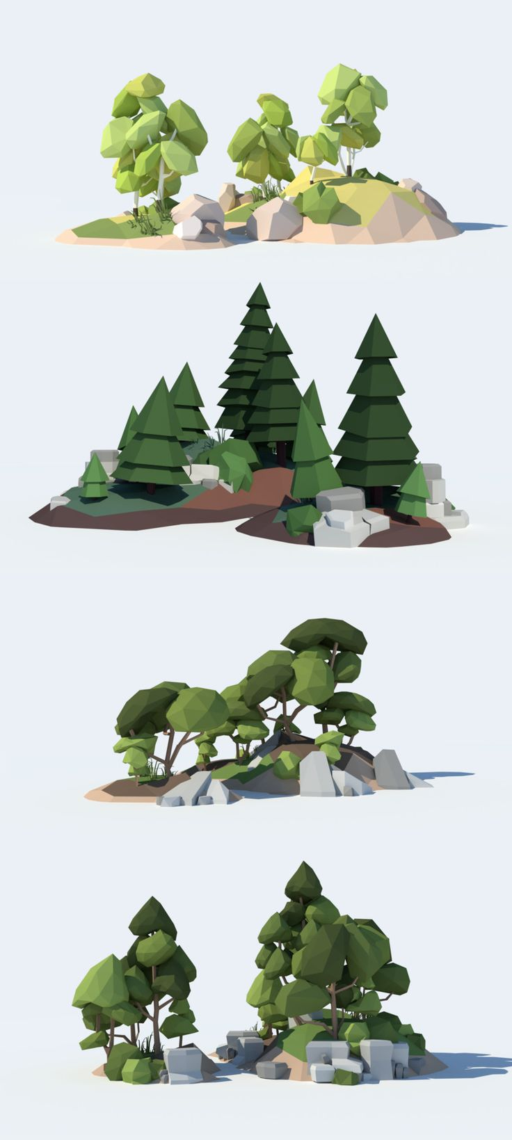 Low Poly Tree Pack. Unity 3D Game Asset. Contains 38 stylized low poly trees as .dae (Collada) mesh files and ready-to-use prefabs.Tree types: – simple spruces – wrinkled spruces – round broad-leaved trees – sharp broad-leaved trees – birchtrees – weeping willows – palmtrees – 6 special trees