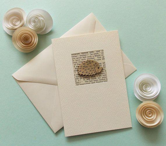 Blank Birthday Card Hedgehog Card Hand made greetings card