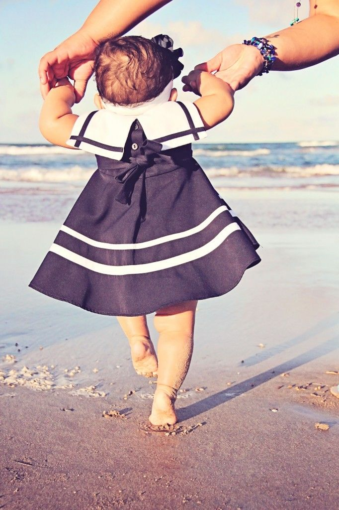 Baby girl photoshoot at the beach!   Iliasis Muniz Photography baby girl, sailor outfit, shoreline, beach themed photoshoot, Mommy and Daughter, Nautical photoshoot