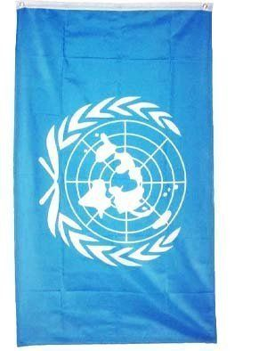 "New 3x5 United Nations Flag UN Peace Keeping Flags NIP by BlockBusterClearance. Save 94 Off!. $0.95. New 3x5 United Nations Flag UN Peace Keeping Flags NIP. Material: Polyester. Includes 2 Brass grommets for hanging. Size: 3' x 5' (36"" x 60""). The flag of the United Nations was adopted on October 20, 1947. The flag has the official emblem of the United Nations in white on a blue background. The emblem is composed of an azimuthal equidistant projection of a world map (less Anta..."