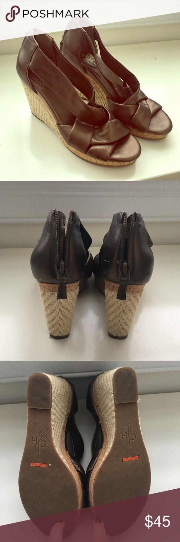 Cole Haan wedges Cole Haan wedges. Bronze/metallic with zip closure. Worn a handful of times. Very comfortable! Cole Haan Shoes Wedges