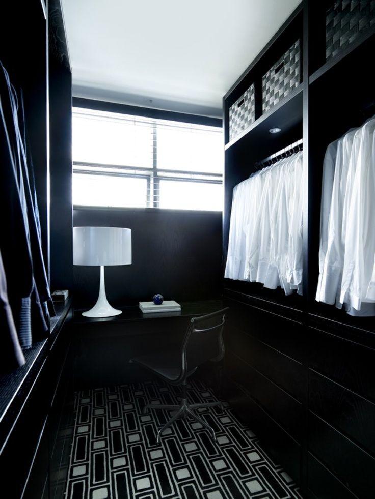 Greg Natale: Mens Walk In Closet With Black Modern Closet System.