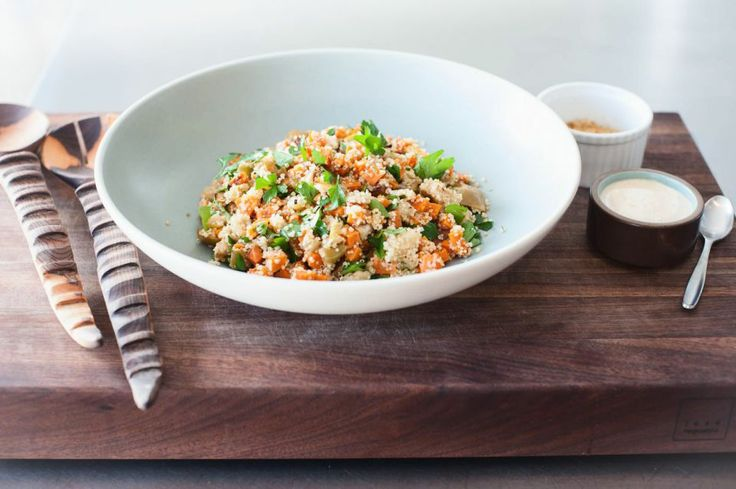 Apple and sweet potato salad with toasted quinoa and tahini sauce