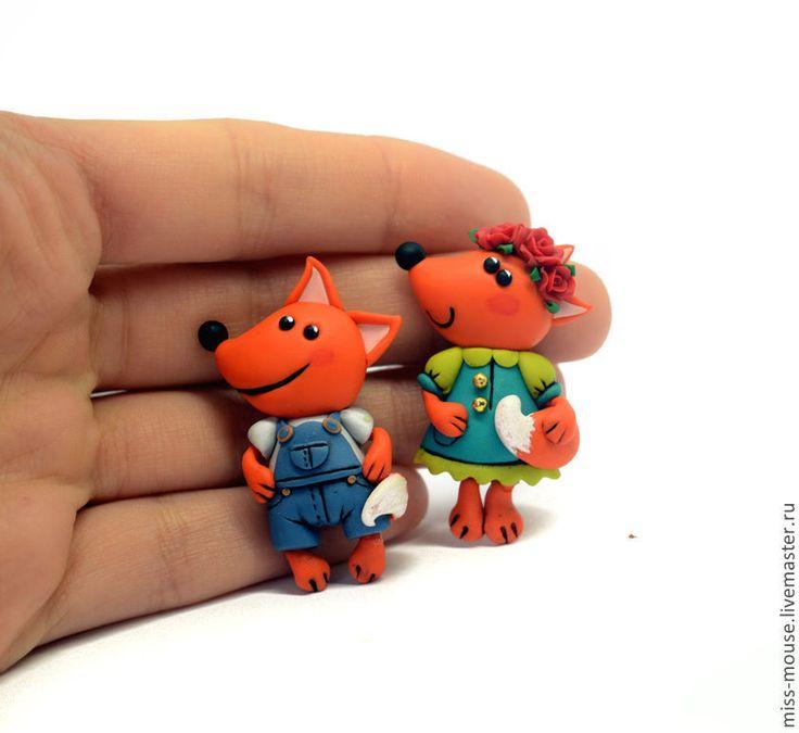 Купить Лисята - брошки из полимерной глины - рыжий, лиса, смешные, игрушки, детям, полимерная глина