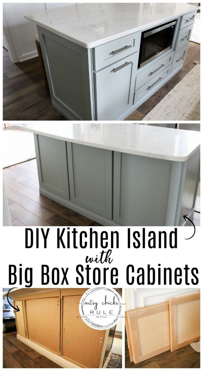 Diy Kitchen Island Makeover Made With Big Box Store Cabinets Kitchen Design Diy Diy Kitchen Island Kitchen Island Makeover