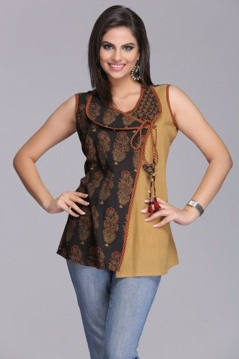 Chic Dark Brown And Mustard Short Ajrakh Angrakha Cotton #Kurti