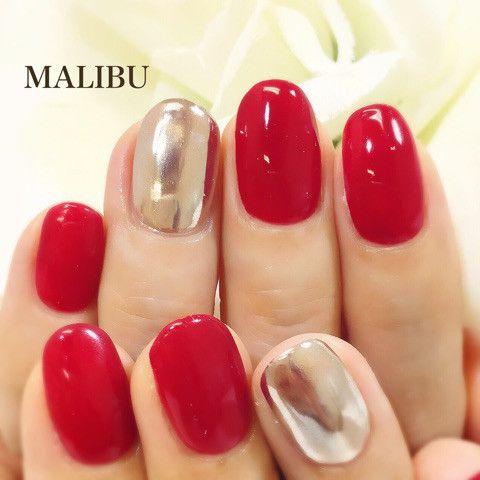 赤ミラーネイル♪ の画像|恵比寿プライベートネイルサロンMALIBU