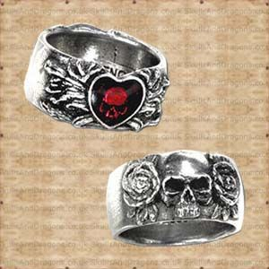 Skulls, roses and hearts feature on this double sided ring of love, pain and sorrow, featuring an enamelled heart obscuring a deep set skull. This skull ring is also available in sizes L,N,Q,T  The Broken Heart Ring by Alchemy in the Skulls and Dragons rings range.    Made from pewter    Ref : SDR123   Price : 13.99 GBP