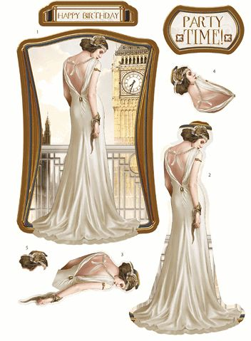 Debbi Moore Designs - Die Cut Art Deco London decoupage toppers - ivory gown