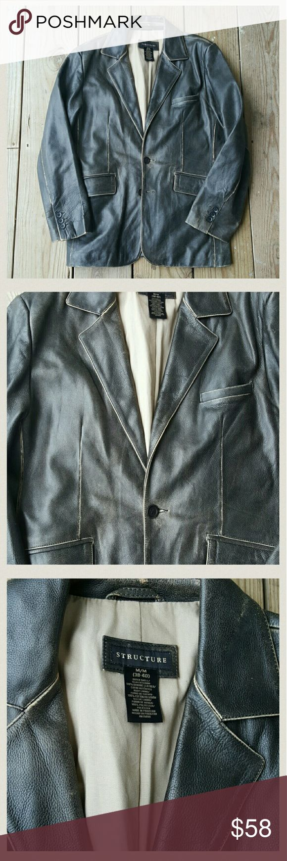 Gorgeous mens leather blazer/jacket by Structure Distressed leather, lined, size med, 38- 40 structure  Jackets & Coats Bomber & Varsity
