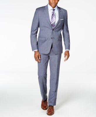 Lauren Ralph Lauren Men's Big & Tall Slim-Fit Light Blue Plaid Suit - Suits & Suit Separates - Men - Macy's