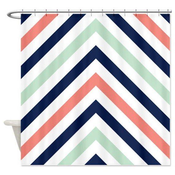 Chevron Shower Curtain Modern Navy Mint Coral White Stripes Or