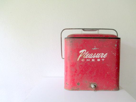 VIntage Cooler, 1950s Red Pleasure Chest, Camping Cabin on Etsy, $75.00