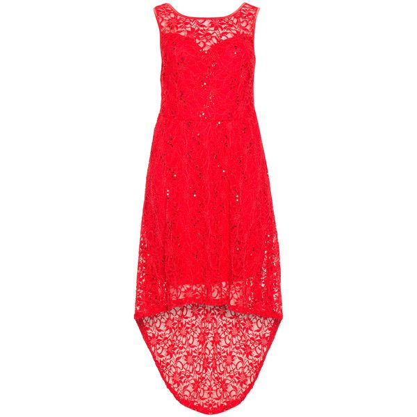 Velvet Pop Red Plus Size High low hem lace dress ($67) ❤ liked on Polyvore featuring dresses, plus size, red, red sequin dress, plus size sequin dress, plus size cocktail dresses, sequin cocktail dresses and red lace cocktail dress