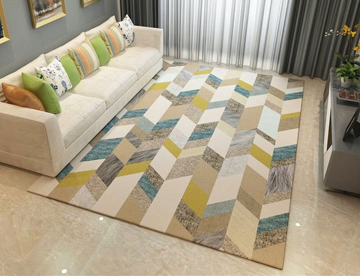 SUBBYE Living Room Rug Nordic Bedroom Rectangle Machine Washable Carpet Simple Modern Sofa Coffee